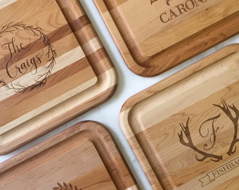 Personalized Last Name Hardwood Cheese Board, Custom Cutting Board, Hostess Gift, Personalized Housewarming Gift, Custom Etched Cheese Board