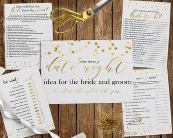 Printable Gold Bridal Shower Games,