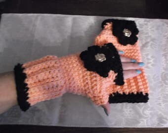 Pretty Coral/Black Handmade Knitted/Crochet  Fingerless Gloves