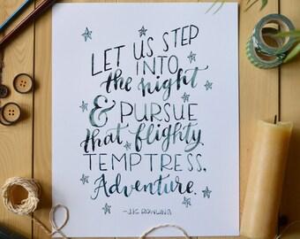 Harry Potter Art Print/ Harry Potter Quote/ Watercolor Quote Art/ Children's Art/ Adventure Quote/ Dumbledore- 8x10