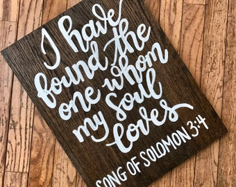 Dark Walnut Wood Songs of Solomon Hand Painted Sign