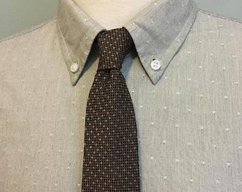 ON SALE Copper/Brown Screen Pattern Men's Silk Skinny Necktie c1960s