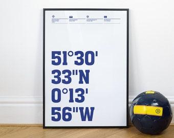 QPR Football Stadium Coordinates Posters