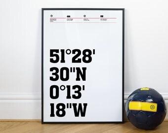 Fulham Football Stadium Coordinates Posters