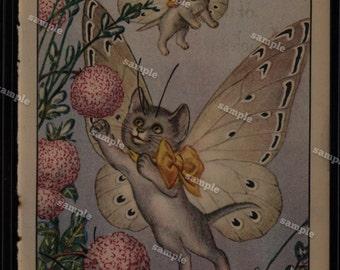cat fairies antique original print from Children fairies  double sided wall art decorative art art decor home decor