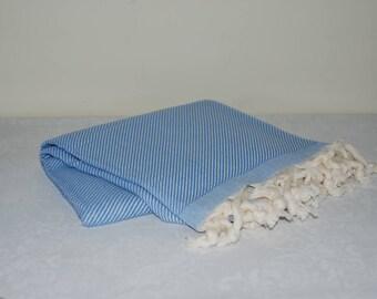 Turkish Bath Towel Blue and Cream Stripes Hammam Turkish Peshtemal Hand Woven Pareo High Quality