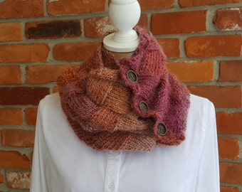 Scarf, Hand Knit,  Entrelac Scarf, Infinity, Pink, Gray, and Orange