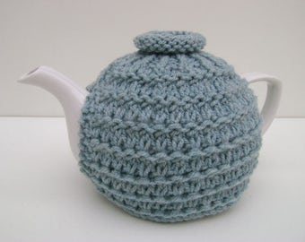 Duck-egg Tea Cozy. Knitted Tea Cozy. No Frills Tea Cozy. Teapot Cozy. Medium Teapot Cover. Tea-lovers Gift.