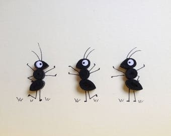 Quilled card, Funny black Ants, Quilled Ants Card, Blank Card, birthday invitation