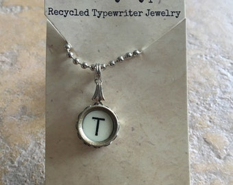 Vintage Typewriter Key Necklace - T
