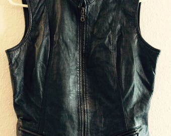 Vintage leather vest size large