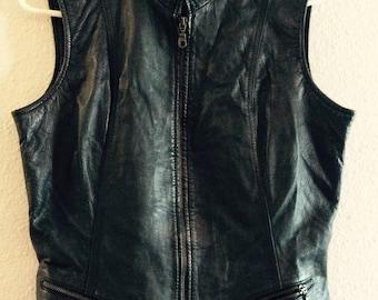 Vintage leather vest size large moto