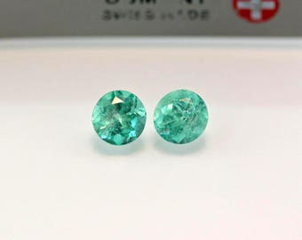 5mm Round Matched Pair Natural Colombian Emeralds Loose Gemstones