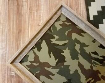 READY to SHIP Reclaimed Wood Camoflauge Bulletin Board Fabric Memo Board Boys Room Decor Man Cave Gift