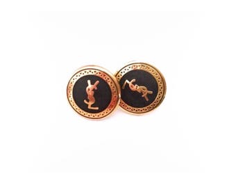 YSL Gold Button Earrings (Small)