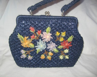 Navy Blue Straw Handbag With Flowers Applique/Japan Vintage Handbags /Purses/Straw Handbags/Retro Handbags/Vintage Straw Handbags-Purses