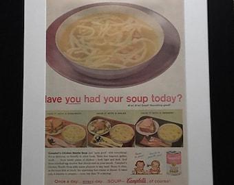 Vintage Framed Magazine Ad - Campbell's Soup