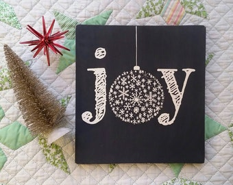 Joy Christmas Sign. Winter Wall Decor. Christmas Ornament Sign. Rustic Custom Wood Sign. Hand Painted Christmas Gift. Gallery Wall Art.