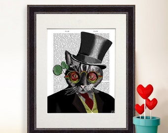 Cheshire Cat Décor Mad Hatter Tea Party - Mad Hatter Cat - Wonderland theme Alice in Wonderland Poster cheshire cat print alice gift