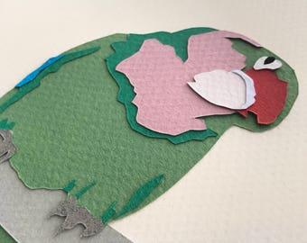 Rosy-Faced Lovebird - A5 Original Papercut - Unframed