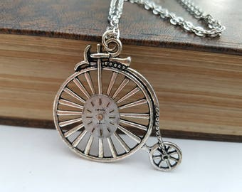 Victorian Steampunk necklace - Penny Farthing and vintage watch face in antique silver