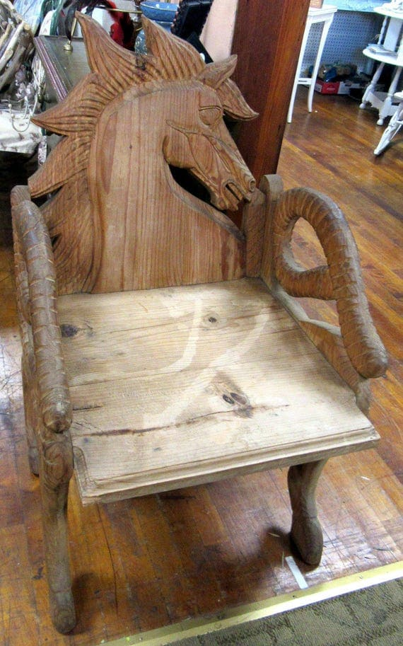 Hand carved horse chair
