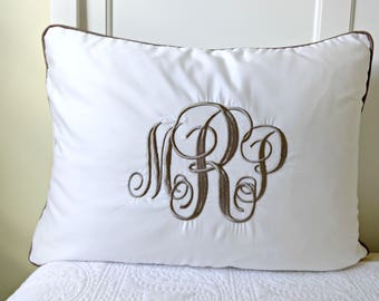 Pillow Shams Piped with Monogram/ Taupe Welting Bed Pillow/ Personalized Pillow Sham