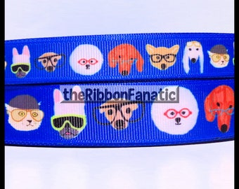 "5 yds 5/8"" or 7/8"" Cute Dogs in Glasses Grosgrain Ribbon"