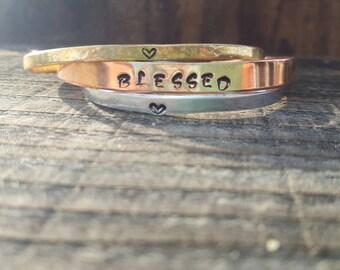 BLESSED Bracelet Set, 3 Bracelet Set, Alumiun Brass Copper Stacked Bracelets, Hand stamped Hammered and Monogrammed Bracelet Cuffs