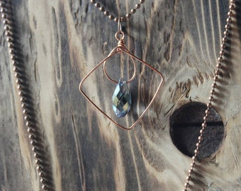Free Swinging Mystic Fire Crystal Necklace, Crystal Triangle Necklace, Copper Wire Necklace, Abstrast Crystal Necklace, Healing Crystal
