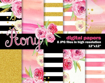 Watercolor Digital Papers. 10 Peony Inspired Digital Watercolor papers. Hand Painted Stripes