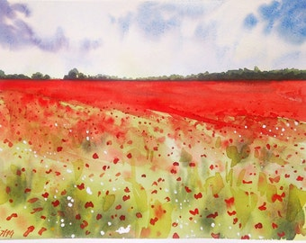 Red field original watercolor, original watercolour landscape, orignal red art, red watercolor, original wall art, landscape painting, deco
