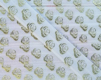 5/8 WHITE  with Gold Roses Fold Over Elastic