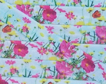 5/8 Bright Pink, Green and Yellow FloralFold Over Elastic