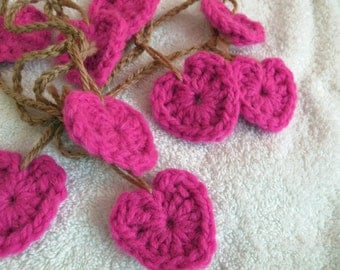 Lipstick pink bulky heart Garland (choice of length) / Valentine's Garland / pink heart bunting / pink crocheted heart garland