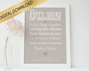 50th anniversary gift -printable anniversary gift - anniversary present- golden wedding anniversary - fifty anniversary - digital download