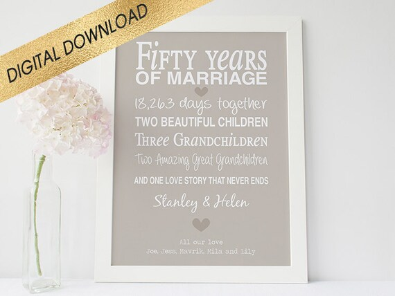 List Of 50th Wedding Anniversary Gifts : 50th anniversary gift -printable anniversary gift - anniversary ...