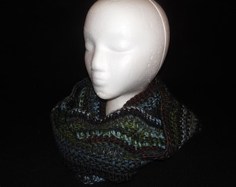 Crocheted Infinity Scarf Multi-Colored ~Emerald~