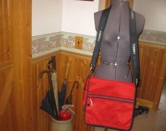 Vtg Tommy Hilfiger Crossbody Messenger Bag Red Spellout logo strap 12 H x 15 bag free ship