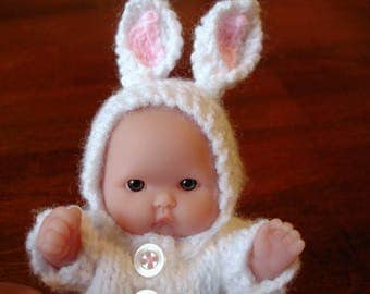 "Lots To Love, Berenguer, Tiny Easter Bunny Doll - Too Cute For Words Baby - 5"" Tall - White Hand Knit Bunny Outfit"