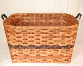 Handcrafted Small Woven Laundry Basket with Leather Handles