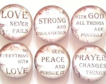 Christian Inspirational Magnets, Refrigerator Magnets, Fridge Magnet, Christian Motivational Magnets, Decorative Christian Magnets, Set of 6