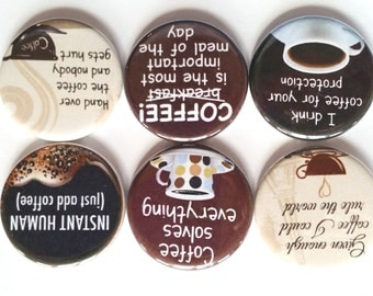 Coffee Magnets, Refrigerator Magnets, Funny Magnets, Fridge Magnets, Decorative Kitchen Magnets, Funny Coffee Room Magnets, Coffee, Set of 6