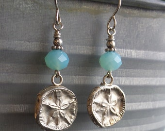 SandDollar  Beach Silver Precious Metal Clay Earrings With Light Blue Glass Accent Beads