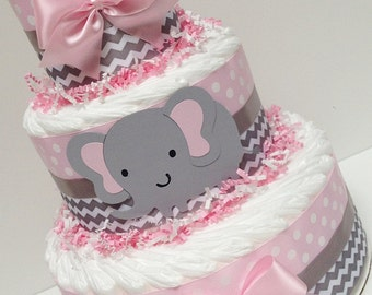 3 Tier Pink & Gray Elephant  Diaper Cake,  Baby Girl Shower Centerpice, Grey Chevron Decoration