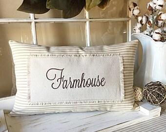 Ticking Pillow Cover, Farmhouse Pillow Cover, Farmhouse Style Pillow Cover, Modern Farmhouse Pillow Cover, Pillow Cover