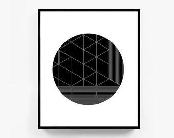 Black and White Geometric Print, Large Modern Art, Large Abstract Wall Art, Large Black and White Print, Big Wall Decor, Modern Geometric