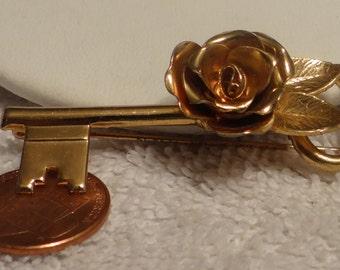 Vintage Brooch Key with Rose Wonderful!!!!