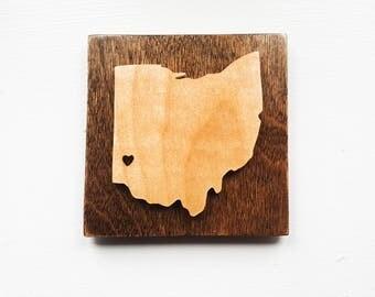Ohio Fridge Magnet, Ohio Locker Magnet, Wooden State Magnets, Rustic Ohio Magnet