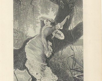 "1888 Steel Engraving ""The Fair Dreamer"" 7x10 by Knut Ekwall"